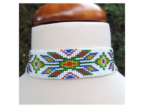 Seed bead choker, Native American beaded necklace