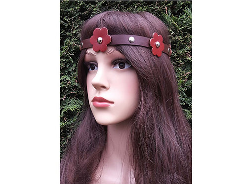 Red leather head band