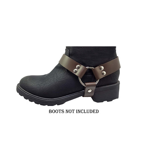 Ladies brown leather boot straps