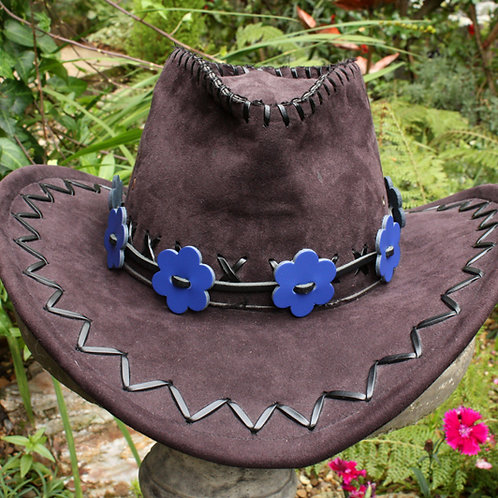 Blue leather hat band