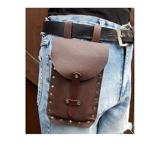 Brown leather waist bag