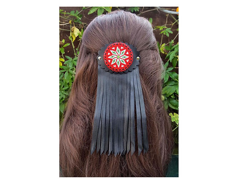 Fringed lether hair barrette