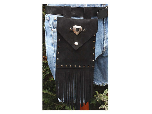Black fringed suede pouch