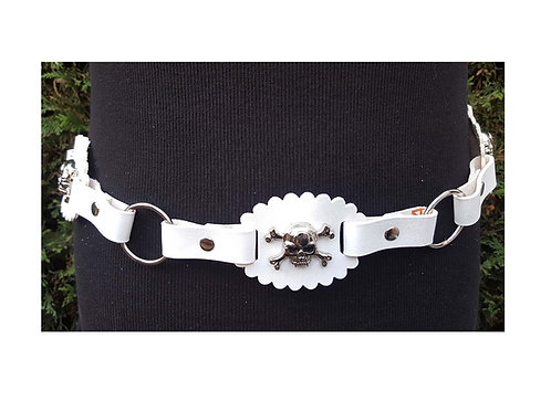 White leather skull belt
