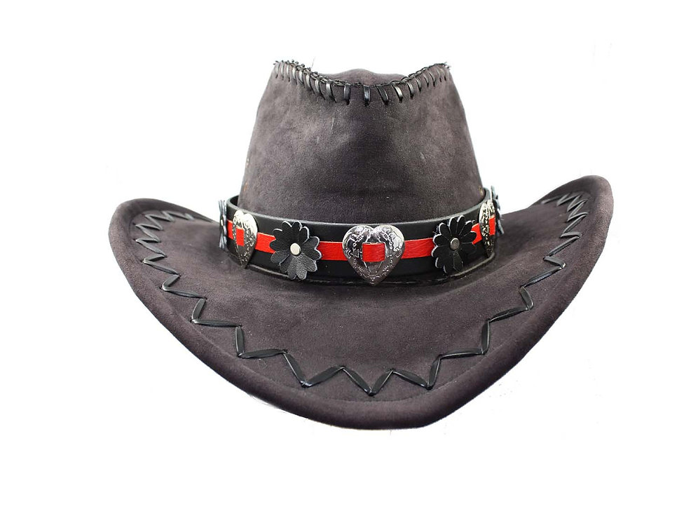 Red & black leather Cowboy hat band