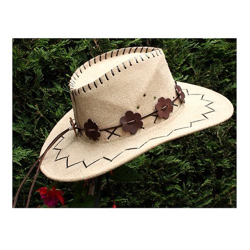 Brown leather cowboy hatband