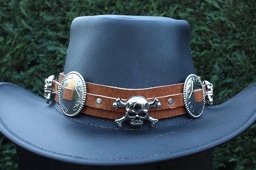 Handmade leather biker hat band