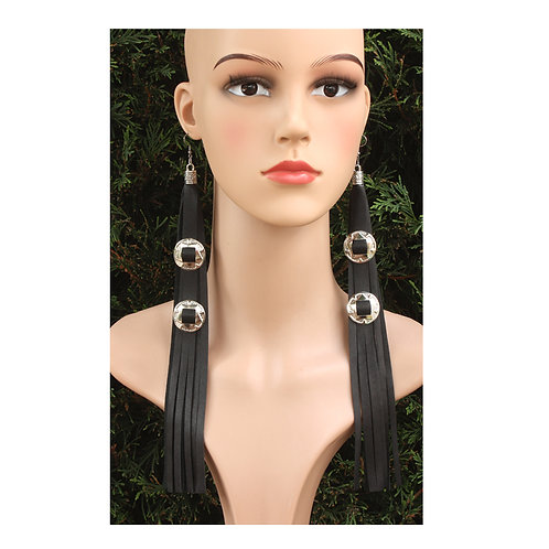 Long black leather earrings