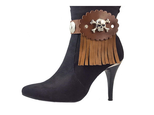 Skull n crossbones boot straps, Brown leather boot bracelets