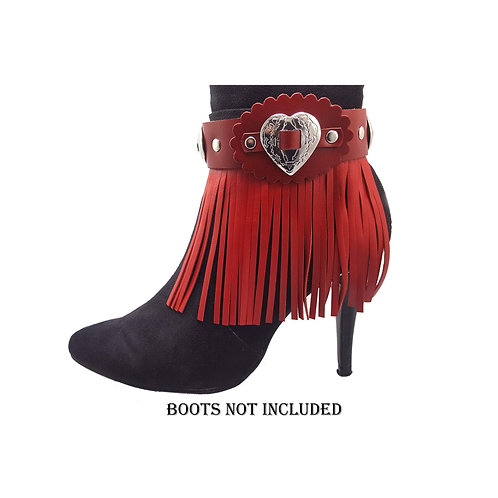 Red leather boot fringes