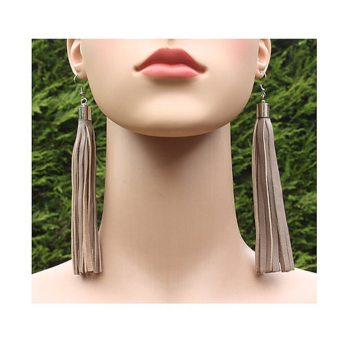 copy of Grey leather earrings with long fringes