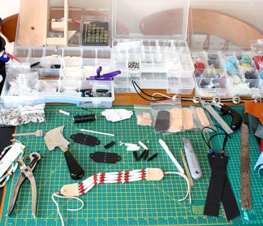 Leather jewellery work area