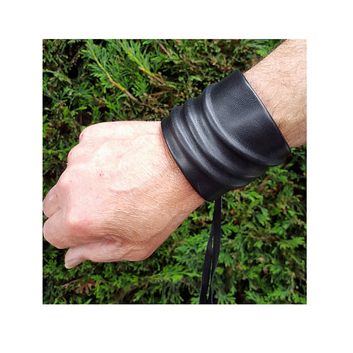 Mens black leather wristband