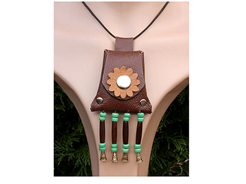 Brown leather amulet