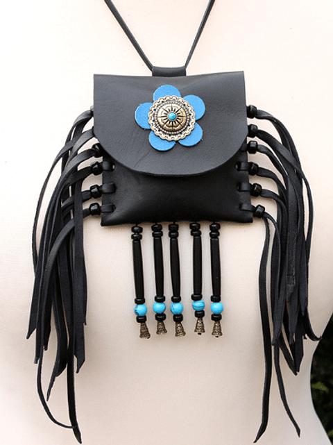 Black leather neck purse