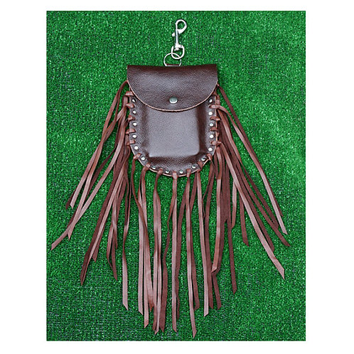 BROWN LEATHER FRINGED HIP POUCH
