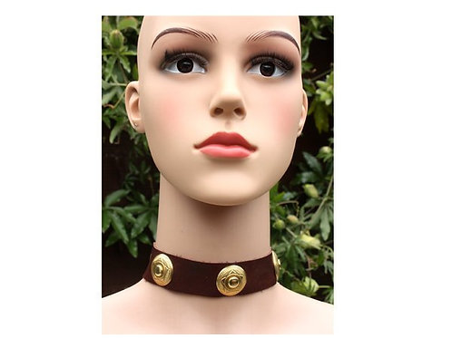 Brown leather concho necklace