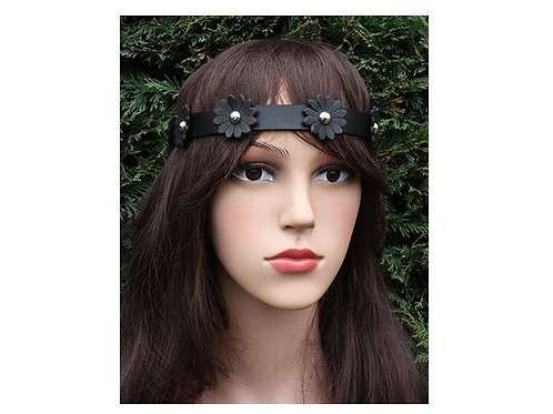 Black leather flower head band