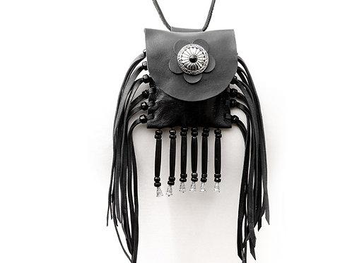 Black leather fringed neck purse