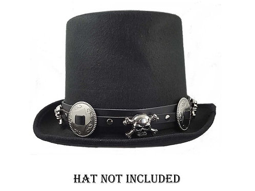 Black leather skull concho hat band