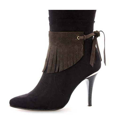 BROWN SUEDE ANKLE FRINGES