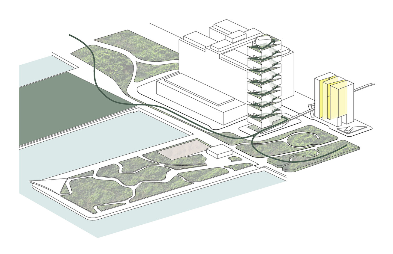 Park Spiral Tower + Light-Sliced Housing