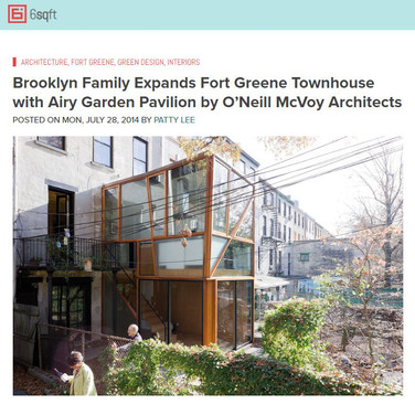 Brooklyn Family Expands Fort Greene Townhouse with Airy Garden Pavilion by O'Neill McVoy Architects