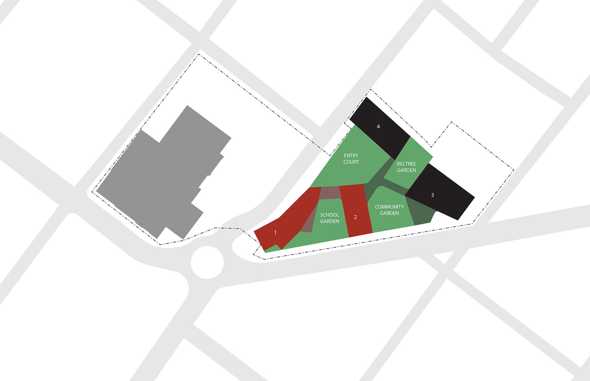 Four buildings shape four porous gardens
