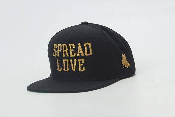 Black With Metallic Gold Spread Love Snapback