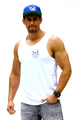 White Tank W/ Royal Blue Polo Face