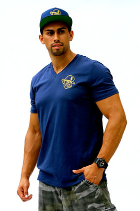 Navy V Neck W/ Metallic Gold Polo Face