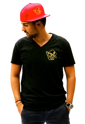 Black V Neck W/ Metallic Gold Polo Face