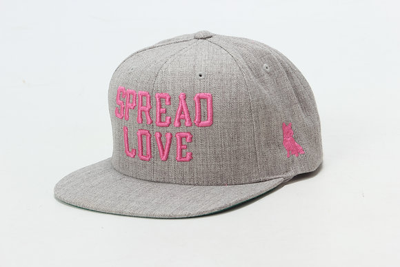 Heather Gray With Pink Spread Love Snapback