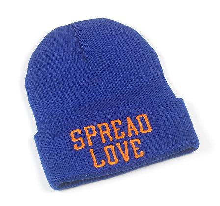 Royal Blue And Orange Spread Love Beanie