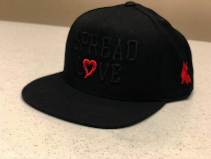 Spread Love Black Red Heart Snapback