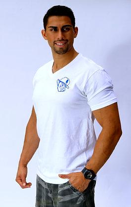 Polo Face V Neck White W/ Royal Blue