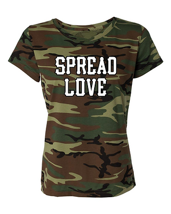 Womens Green Camo White Print