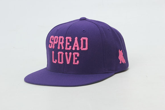 Purple With Pink Spread Love Snapback