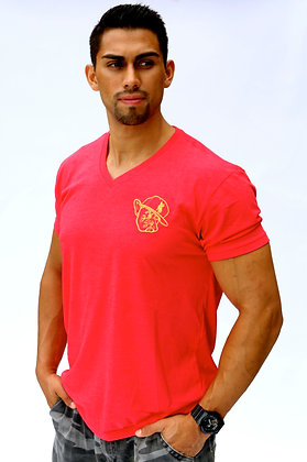 Red V Neck W/ Metallic Gold Polo Face