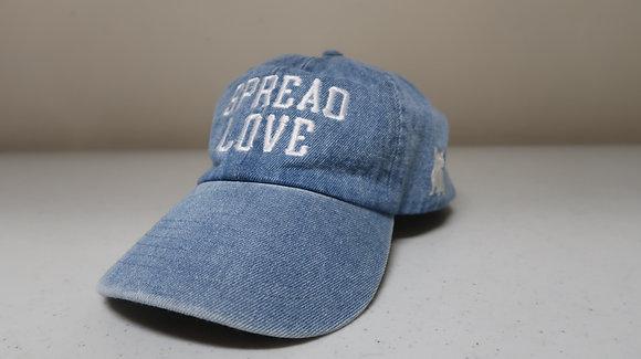 Denim Jeans & White Spread Love Dad Cap