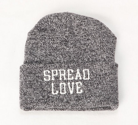 Gray And White Spread Love Beanie