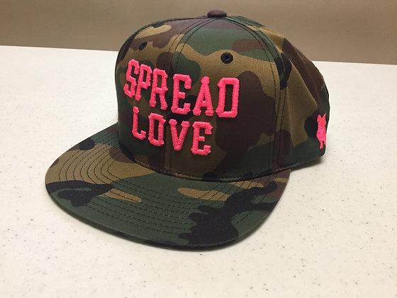 Camo & Neon Pink Spread Love Snapback