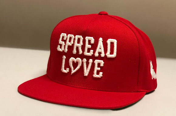 Spread Love Red White Heart Snapback