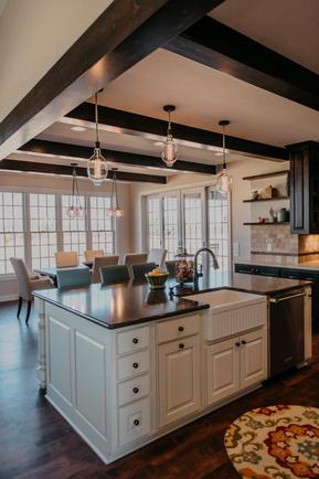 Wood Ceiling Beam Kitchen