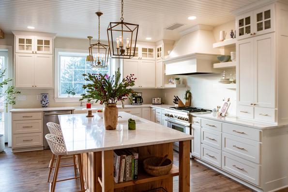 Gorgeous Dark Maple & White Kitchens