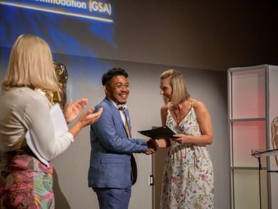 Drama accepts the BAFTA-GSA Commissioning Grant for his documentary 'I'm Okay (And Neither Are You)'.  Photo by Lan Nguyen