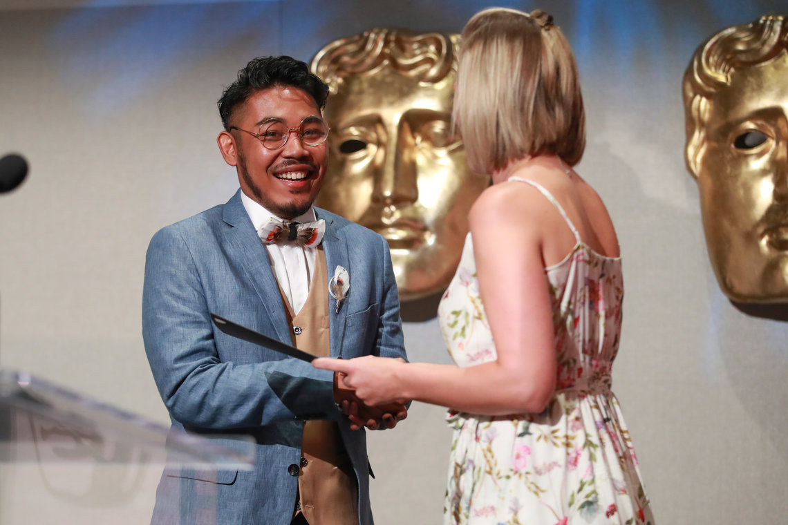 Drama accepts the BAFTA-GSA Commissioning Grant for his documentary 'I'm Okay (And Neither Are You)'.  Photo from Getty Images for BAFTA LA.