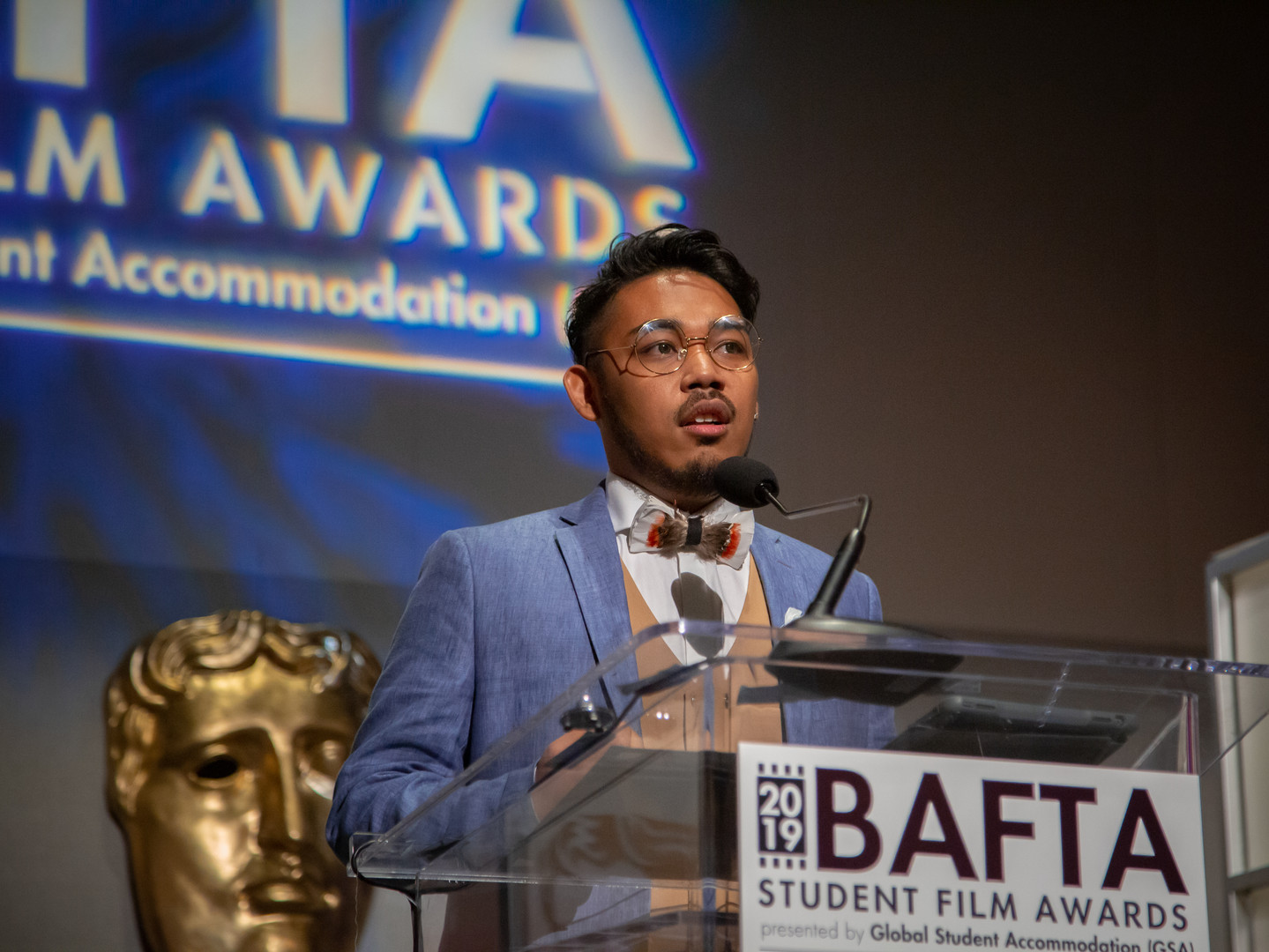 Drama delivers his acceptance speech for the BAFTA-GSA Commissioning Grant for his documentary 'I'm Okay (And Neither Are You)'.  Photo by Lan Nguyen