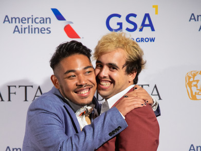 Drama celebrates with his boyfriend Chris. The couple's mental health journey is the subject of 'I'm Okay (And Neither Are You)'.  Photo by Lan Nguyen