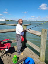man with a disability fishing